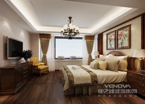 整套美式风格的装修中,粗犷大气体现在其家具上和材质上,还表现在它给予人的整体感觉上,从整体家具的仿旧工艺到胡桃木材质的运用,凸显贵气与端庄。在家具的造型上,保留了美式家具的古典色泽和质感的同时,时常还可以看到华丽的枫木滚边、胡桃木的镶嵌线、扭扣般的工艺以及古典地家具脚腿造型等,以家具本身的造型来表达美式风格的厚重;整体空间没有太多的用色,以米色、暗棕、土黄或者黑灰色等深色系为主,力求营造怀旧和复古,让家变得舒适和实用,带你体味粗犷大气、天然随