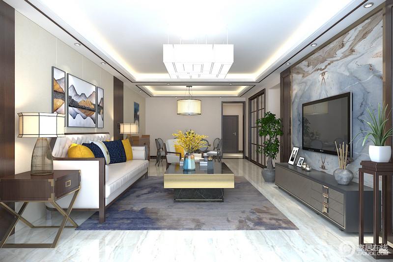 客厅与餐厅吊顶分区,一方一圆吊灯相互对称,凸显方圆之意;餐厅简单的家具陈列方式以舒适和实用为主,让空间在此生活的愉悦。