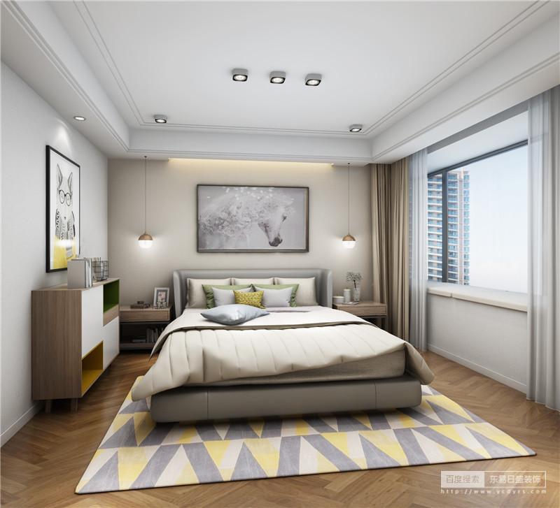 白色的墙体,灰色的空间,明黄来突出,整体空间十分协调舒适
