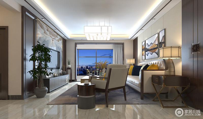 客厅以实木框装裱空间,山脉画图与布沙发上的姜黄色靠垫给予空间明快,跳跃出时尚;新中式家具的造型以改传统的厚重,带着轻尚,让家更为大气。