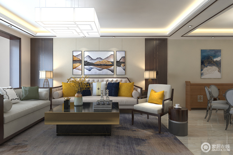 沙发背景在配饰的选择方面更为简洁,少了许多奢华的装饰,更加流畅地表达出传统文化中的精髓,同时,让你感受新中式的端庄。