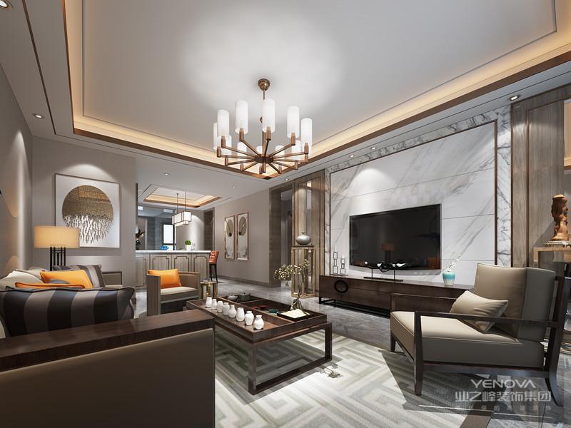 风格诠释:整个空间以现代明亮金属为基调,通过色彩的对比以及现代材料的的运用,营造出温馨恬适的居家风格,设计师在空间也对空间结构关系做了很大的调整,增加了半开放式厨房以及吧台,让客户在繁重的工作后可以在饮食上享受到生活的情趣。