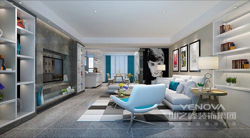 空间色彩的搭配冷暖适中,米白沙发与马赛克地板及浅驼色墙上挂画,构筑客厅区域的靓丽风景。电视墙与沙发墙都拼接了置物收纳架,使空间不止舒适时尚更具功能实用性。