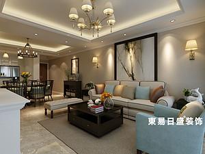 桂林悠山郡三居室130㎡美式装修风格