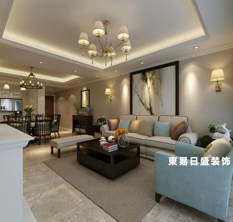 桂林悠山郡三居室130㎡美式風格:客廳裝修設計效果圖