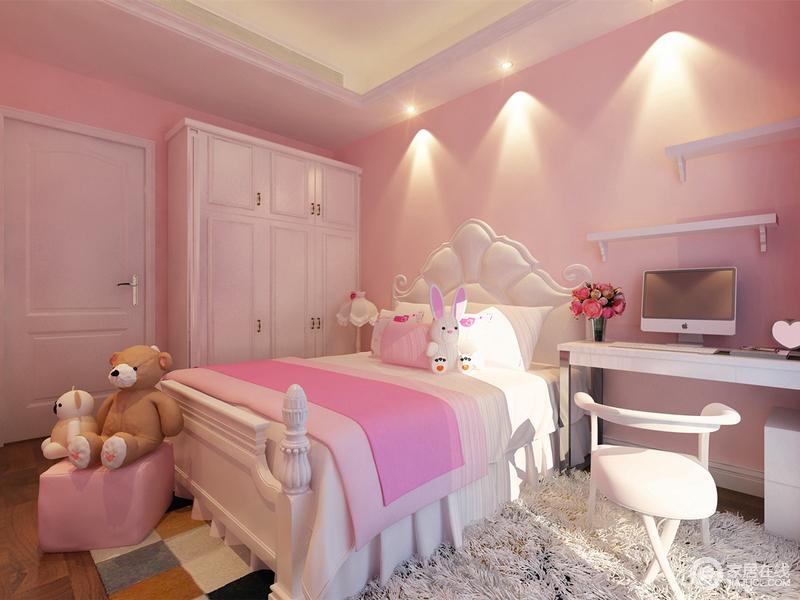 纯净的白色,配上少女感的粉色,令整个儿童房渲染的清新梦幻;从窗台斜照入室的阳光,洒在柔软的绒毛地毯上,白色的座椅圆润雅致,浪漫的童话情调浓情洋溢;点缀的玩物,注入活泼的童趣。