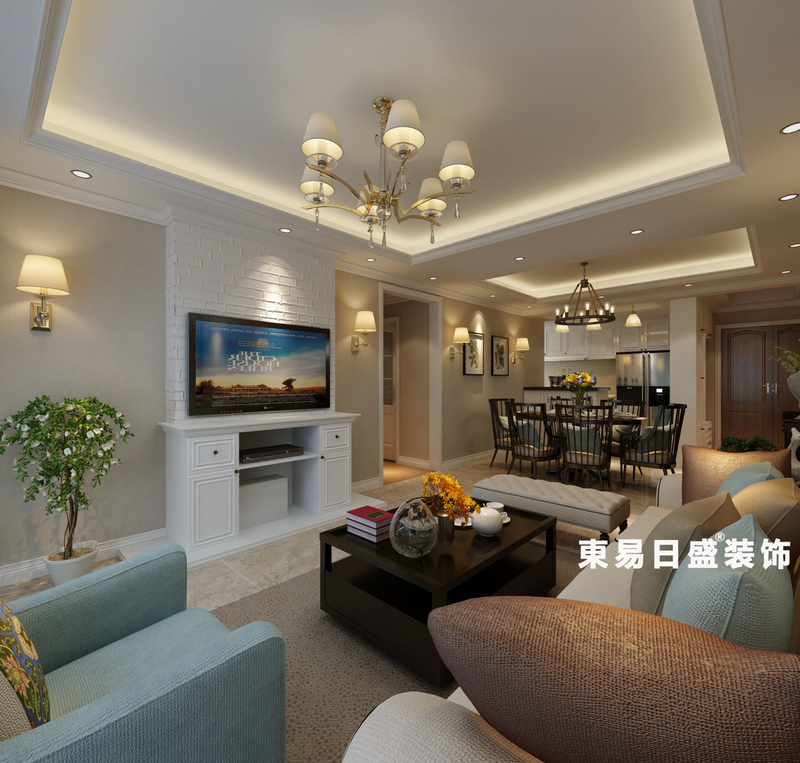 桂林悠山郡三居室130㎡美式風格:客餐廳裝修設計效果圖