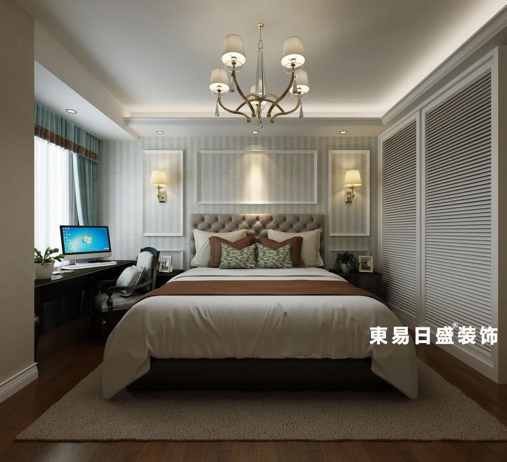 桂林悠山郡三居室130㎡美式风格:卧室装修设计效果图