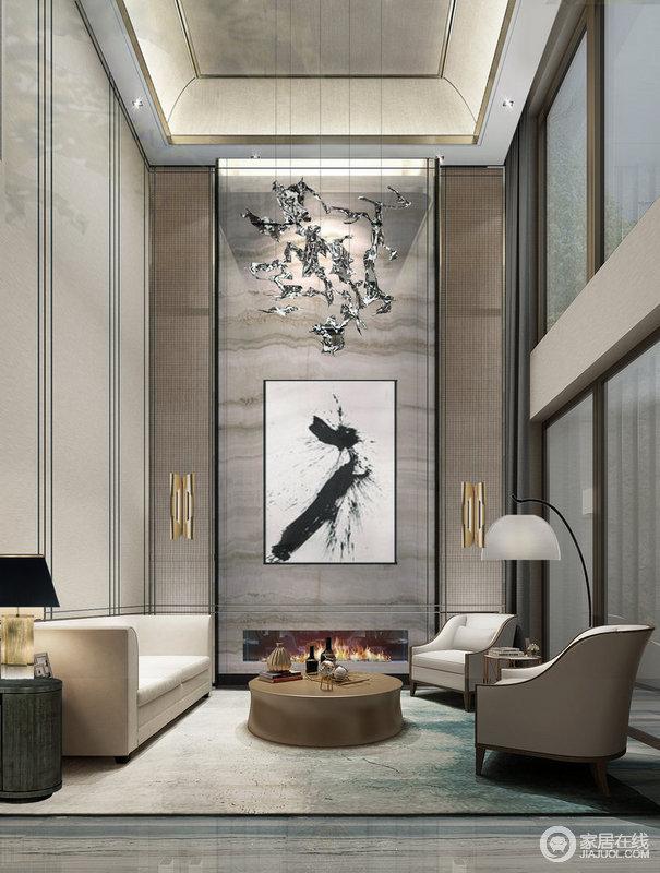 客厅搭配水晶的山景造型,将山水月色融于一室之内,一抹恬淡寡欲的东方艺术气息。
