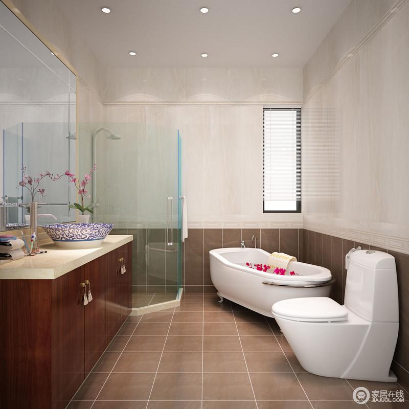 卫生间以奶白色和咖色砖石拼接出色彩层次,简单的设计让空间艺术感顿生,同时,不乏硬朗感;从玻璃淋浴间到浴缸的设计便可感受到实用哲学,新中式盥洗柜与青花瓷台盆无疑新生艺术,填中式雅韵。