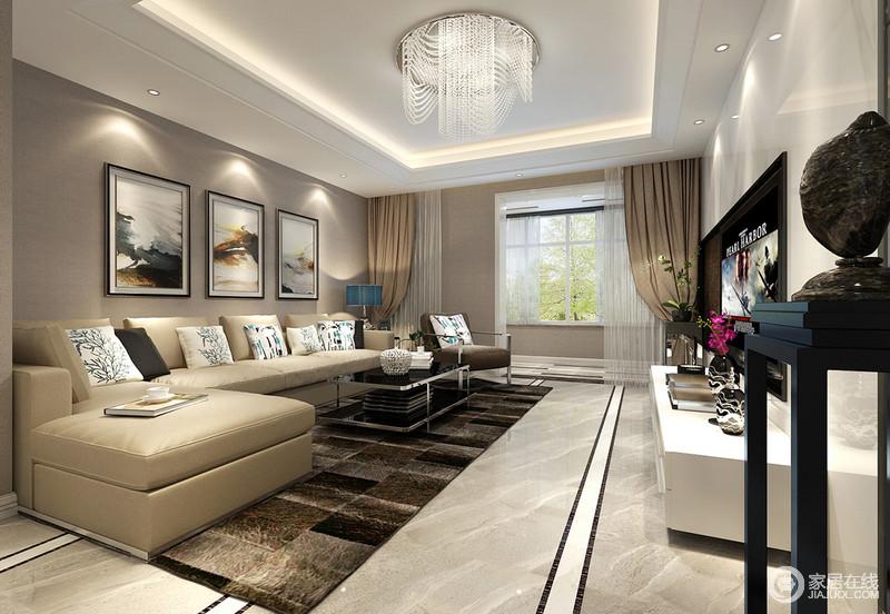 客厅以深灰色作为空间墙面基底,电视墙装饰白色墙板呼应电视柜,与花架、茶几的黑色形成对比;L型米黄色沙发宽大柔软,皮质精良舒适,点缀的靠包图案清新自然,马赛克地毯跳脱渲染,空间显得层次分明,彰显出内敛雅意的华贵。