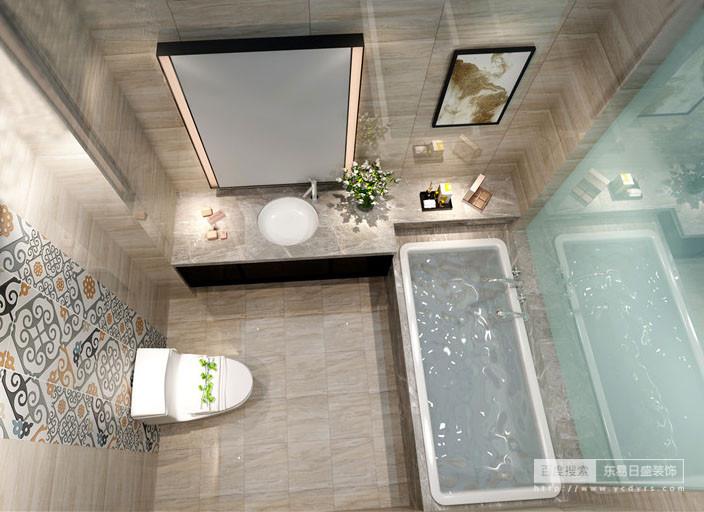 卫生间以米灰色砖石铺贴出美式朴素的乡村之感,而硬朗的线条让整个空间的功能更为丰富,从浴缸区到盥洗区,给你现代感;从拼花墙面到镜饰无不体现出细节处理的精致,可以说,美观与实用并举,功能与舒适并存。