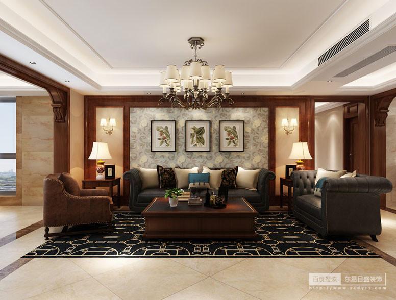 客厅作为待客区域,一般要求简洁明快,同时装修较其它空间要更明快光鲜;因此,设计师使用大量的石材和木饰面装饰让墙面与地面具有条理感,灰色理石背景墙上的植物挂画带来自然情调,而黑色花卉地毯衬托着美式古典家具,对成双成对展现出美式贵气。