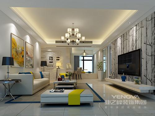 大片的白色使客厅看上去干净纯粹,文化砖墙与自然元素壁纸营造出空间里的自然活力,水彩粉挂画明媚清新,打破大面积白色的清冷,点亮空间活泼氛围。