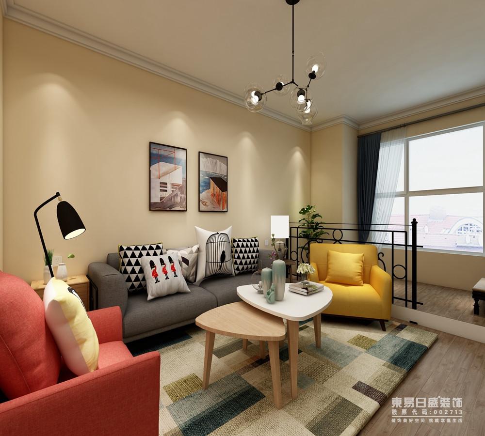 客厅结构规整简单,米色漆自造温暖,因为结构的原因,设计师增加了一个小型铁艺架将客厅与阳台分开,独立之中增加田园之色;彩色沙发组合的北欧设计,与三角形圆几组合出和谐,活泼而缤纷。