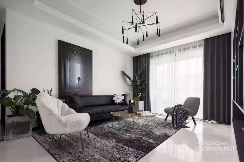 本案业主喜欢简约干练的现代风格,黑白灰的主调,极具质感的家具,抽象艺术的配饰,整体轻奢而时尚,简约而不落俗套