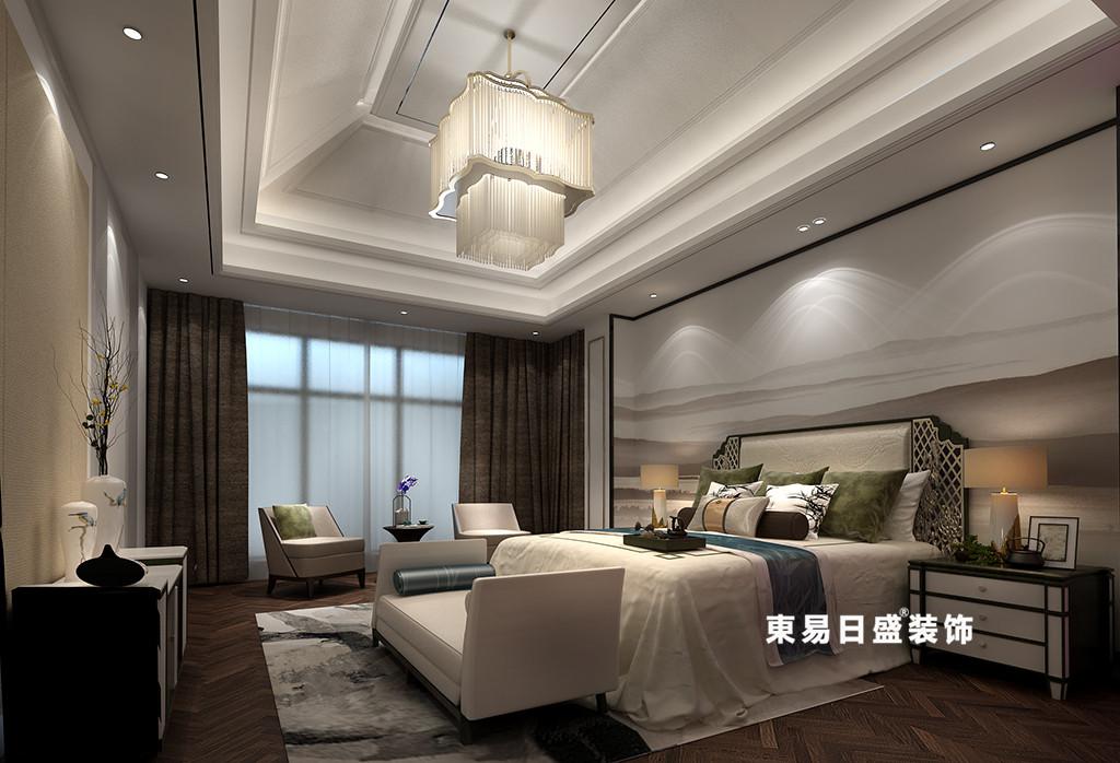 桂林广源•栖山墅别墅580㎡新中式风格:主卧室装修设计效果图
