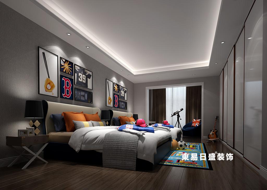 桂林广源•栖山墅别墅580㎡新中式风格:儿童房装修设计效果图