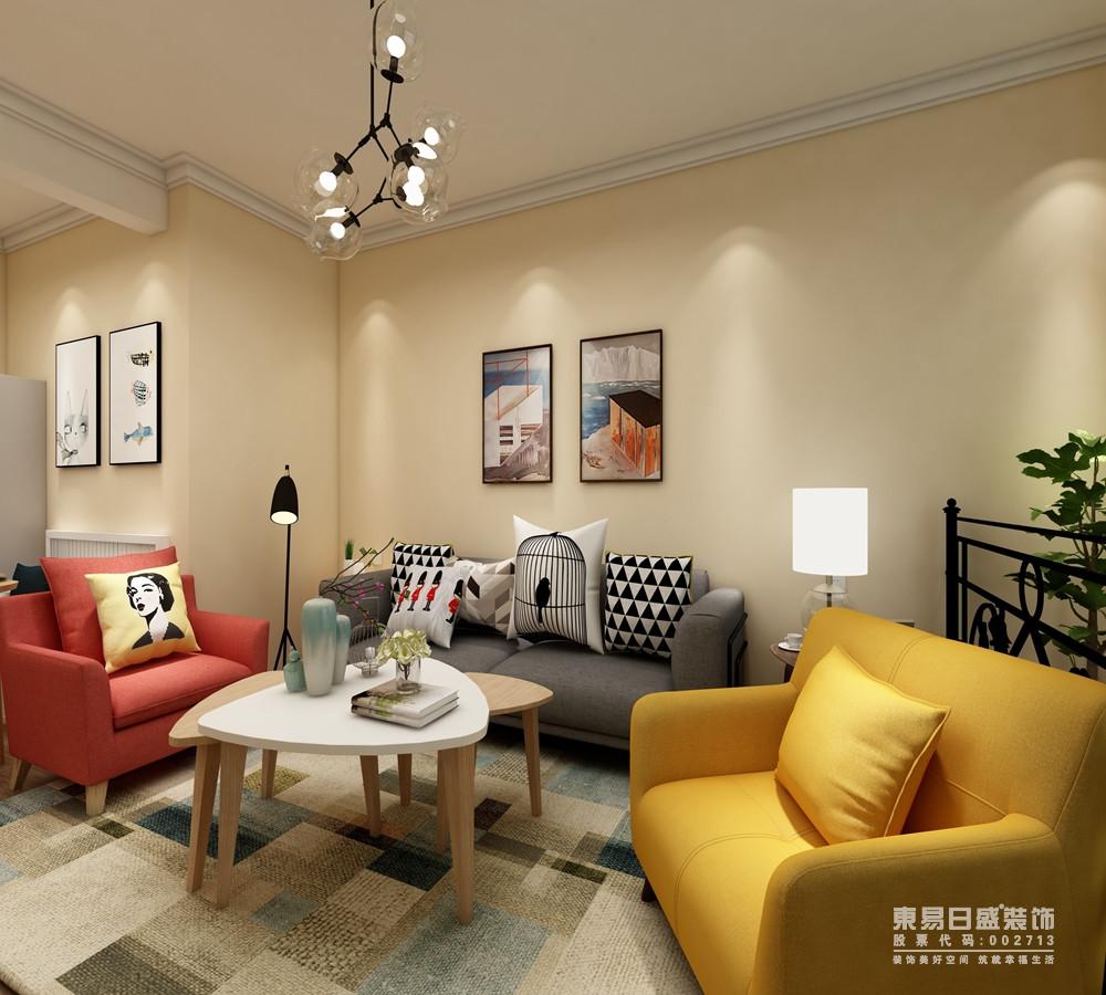 北欧客厅由于自身结构的原因,让开放的空间形成一种自然的空间属性,灰色沙发为中心,红色和黄色扶手沙发添置色彩与温馨,而黑白色调的靠垫带来一种时尚,大地色系的地毯带着几何与自然灵气,让生活不仅仅简单,更给有趣。