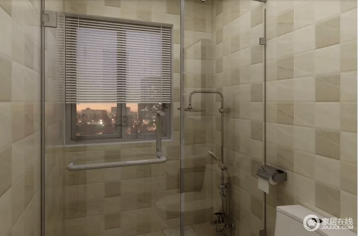 卫生间借玻璃淋浴房来解决干湿分区问题,拼接地砖因驼色的中性演绎大地般的朴质;窗户不仅带来采光也加强了空间的通风,使整个空间更为人性化。