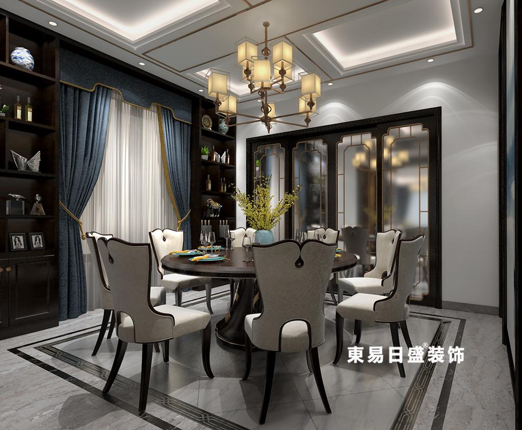 桂林广源•栖山墅别墅580㎡新中式风格:餐厅装修设计效果图