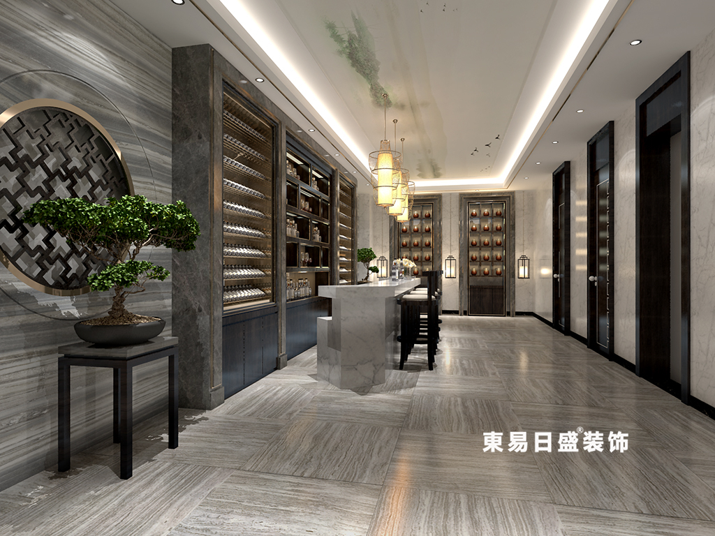 桂林广源•栖山墅别墅580㎡新中式风格:酒吧过道装修设计效果图