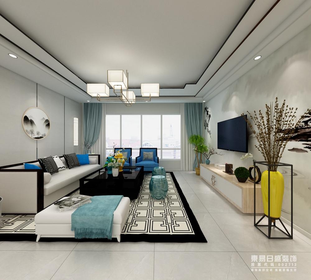 白色和蓝色的基调,奠定了空间的清和雅致,再加上线条感的设计,裹挟着云墨画,让背景墙多了中式雅致;几何吊灯的时尚,与回字纹地毯的中式复古,裹挟着灰色沙发、蓝色单人椅,整个空间给人一种清新脱俗的感觉;空间的布局错落有致,古典中式元素里融入简约的花瓶和电视柜,让整个空间格外大气。