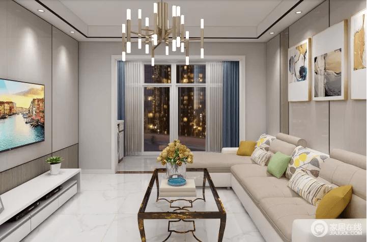 客厅以中性色来奠定空间的成熟和稳重,温文尔雅,利用彩色挂画、蓝色窗帘为空间补色;驼色的沙发在客厅中设计一个玻璃茶几,平衡出空间的实用性,黄铜吊灯的金属质地,让空间愈发摩登。