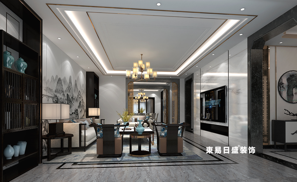 桂林广源•栖山墅别墅580㎡新中式风格:客厅装修设计效果图(全景)