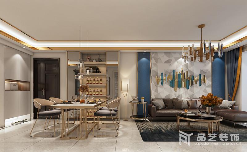 客餐廳互動式的設計讓生活更有空間性,少了束縛,自然地流線型設計,更為流暢;酒柜搭配黃銅底座地餐桌和餐椅,讓空間輕盈時尚,也多了份現代輕華,讓用餐也是一種享受。