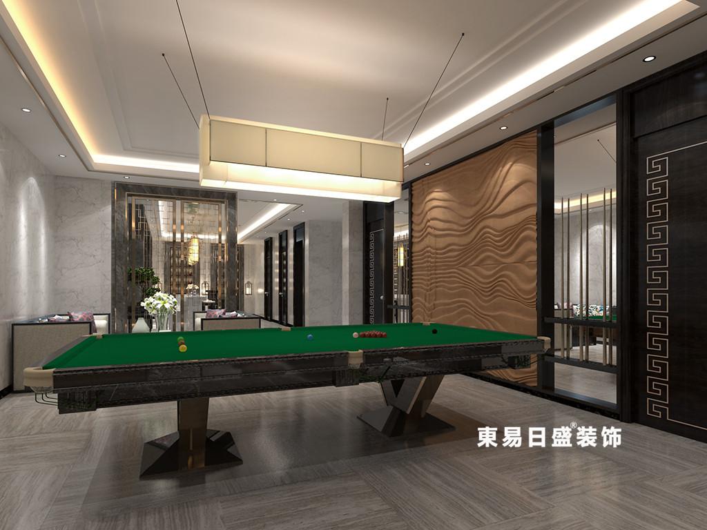 桂林广源•栖山墅别墅580㎡新中式风格:娱乐室台球桌装修设计效果图
