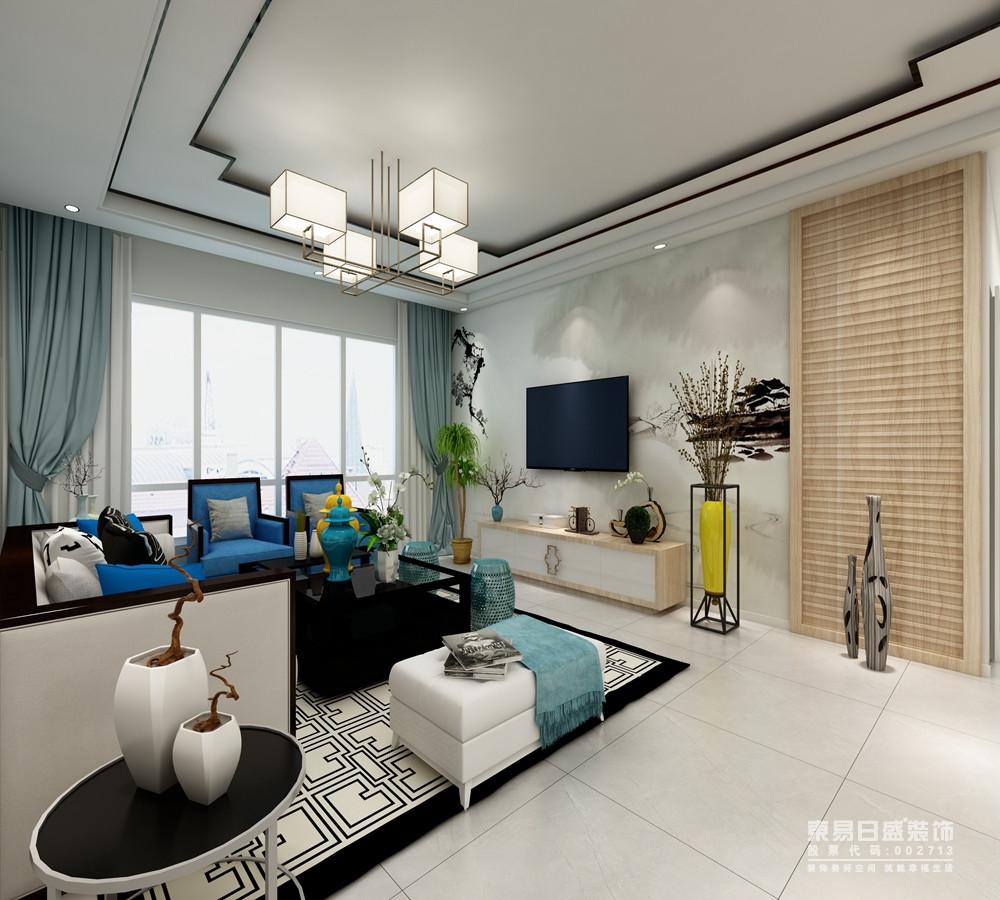 客厅背景很别致,荷叶的浮雕设计隐约之中展现出中式的清韵格调,若隐若现地表达东方美学;浅蓝色窗帘裹挟着靛蓝色新中式扶手椅,为空间注入了优雅;花器和摆设恰当地点缀出意境感,让空间多了生趣与雅致。
