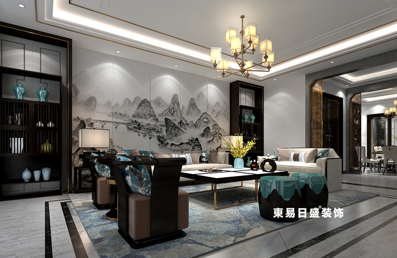 桂林廣源?棲山墅別墅580㎡新中式風格:客廳裝修設計效果圖