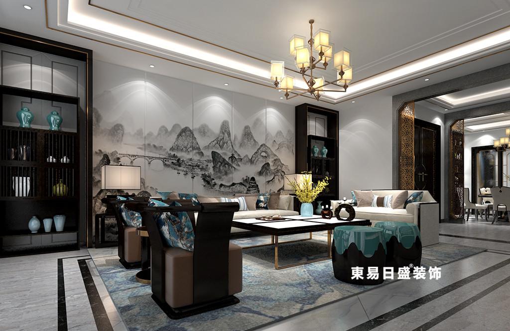 桂林广源•栖山墅别墅580㎡新中式风格:客厅装修设计效果图