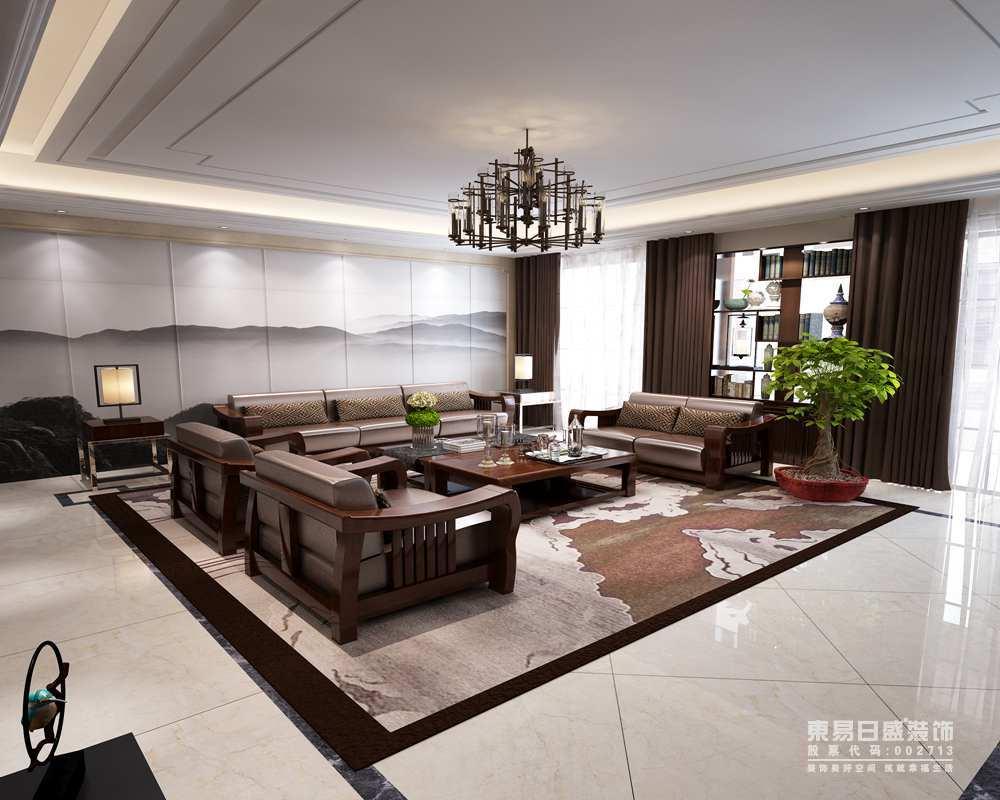 客厅的沙发背景墙以山岚云飞的画作张扬墨意沉寂,与地毯的咖色古意构成对比,实木沙发组合更是让空间带着咖色的暖意,让生活不是温度。