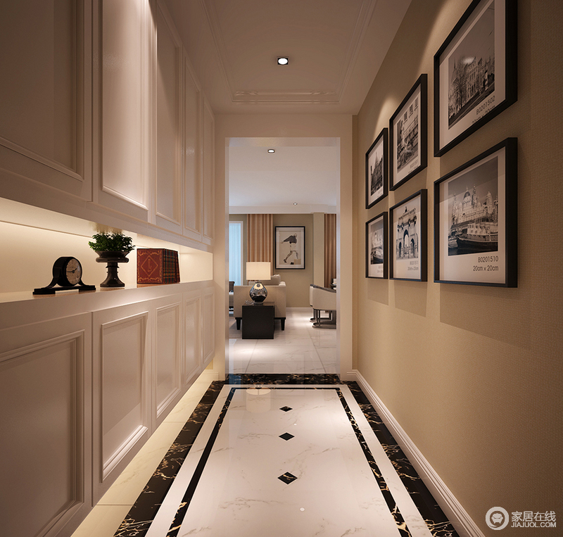 走廊的设计虽然十分整洁,但是设计师通过石膏吊顶和白色收纳木柜增加简约与实用;米色墙面和暖之余,因为黑白照片墙提升了空间的文艺情怀,与黑白地砖的几何设计呈现代大气。