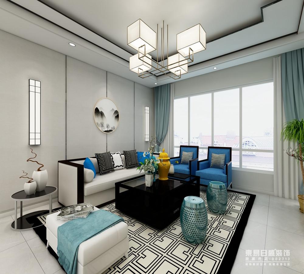 客厅结构方正规整,浅灰色的背景墙造景取设,以云墨圆画与矩形壁灯演绎方圆祥意;而浅灰色沙发与蓝色单人沙发组合时尚而得体,黑檀木茶几与白色镜面圆几对比之中,裹挟着东方元素的坐凳和地毯,让空间充满了小轻奢。