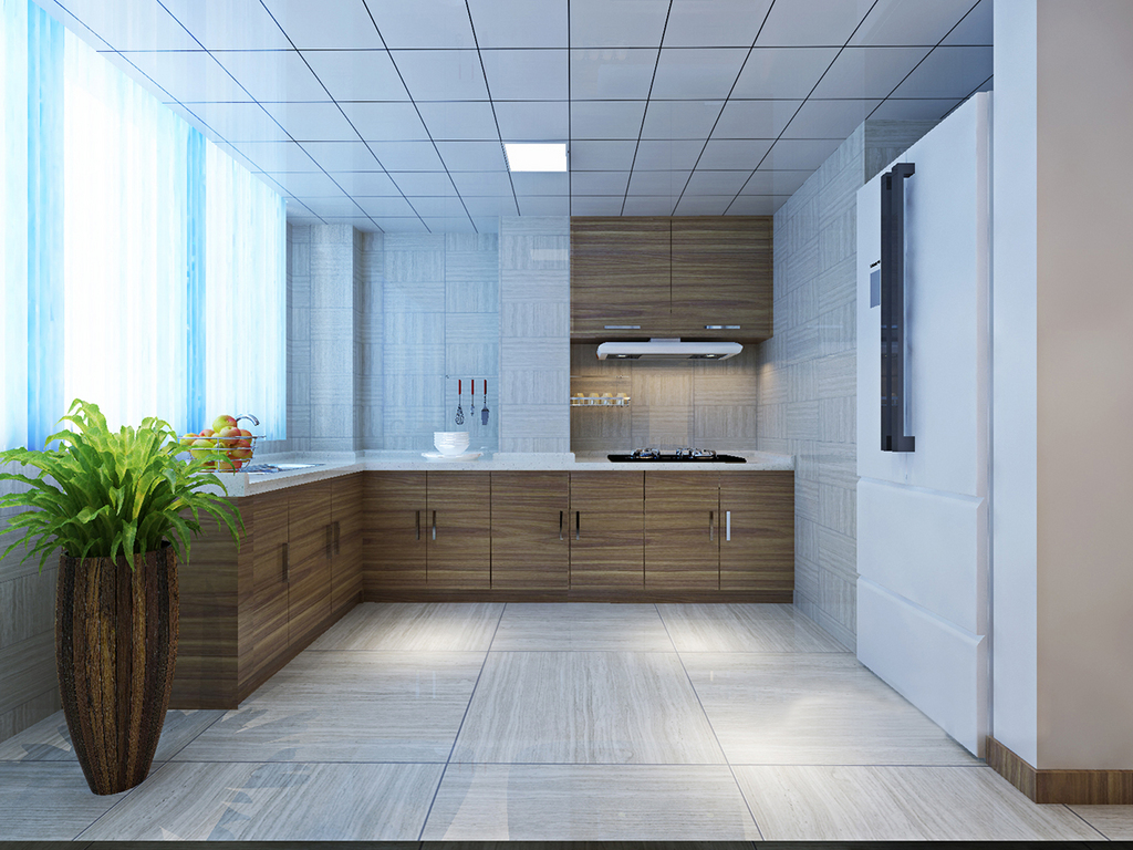 厨房以灰木纹地砖铺贴,与白色砖石的吊顶构成几何之美,硬朗之中多了干练,凸显出空间的现代气质;因为墙体结构的缺陷,设计师定制化的原木橱柜有条理的实现收纳功能,让你在大空间内尽情烹饪美食。