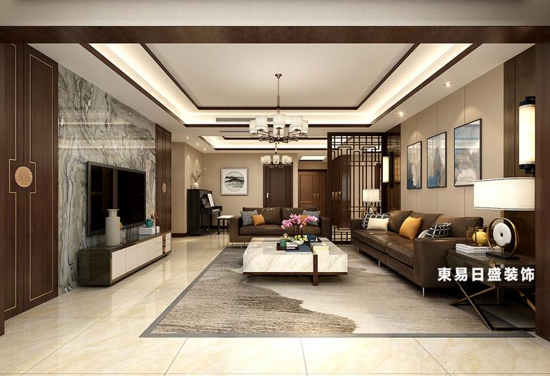 桂林彰泰?睿城四居室150㎡新中式裝修風格:客廳裝修設計效果圖