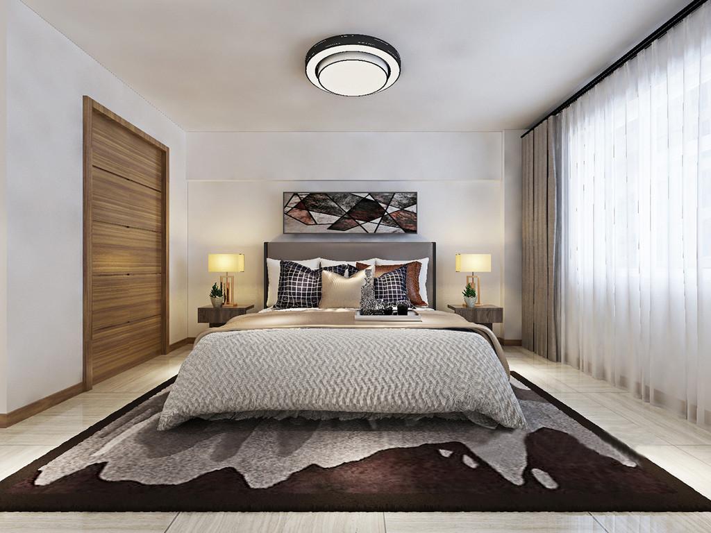 卧室以白色为主,并没有给墙面增添多余的形式,大白墙上悬挂了一副深色调的几何画,多了抽象艺术;原木茶几的立体设计与金属台灯一气呵成,并以对称的形式,带来和谐;中性色的床品及窗帘因为褐灰色地毯和白色纱幔中和出稳重和大气,让你在现代精致中享受温馨。