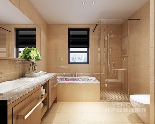 卫浴间十分规整,利用角落打造为淋浴区,以玻璃和米色砖石营造了一个和煦暖意的沐浴时光;浴缸和盥洗台以直楞的设计让卫浴间更具现代质感,毫无累赘,整洁而实用。