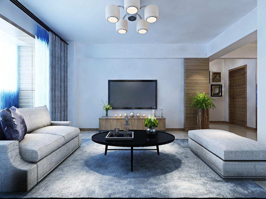 空间规整而紧凑,却减少装饰性设计,从功能出发,让生活简单而实用;灰色布艺沙发和藏灰色地毯奠定了沉冷的氛围,而原木电视柜和黑色简约茶几,带着设计的轻盈,让生活平静简雅。