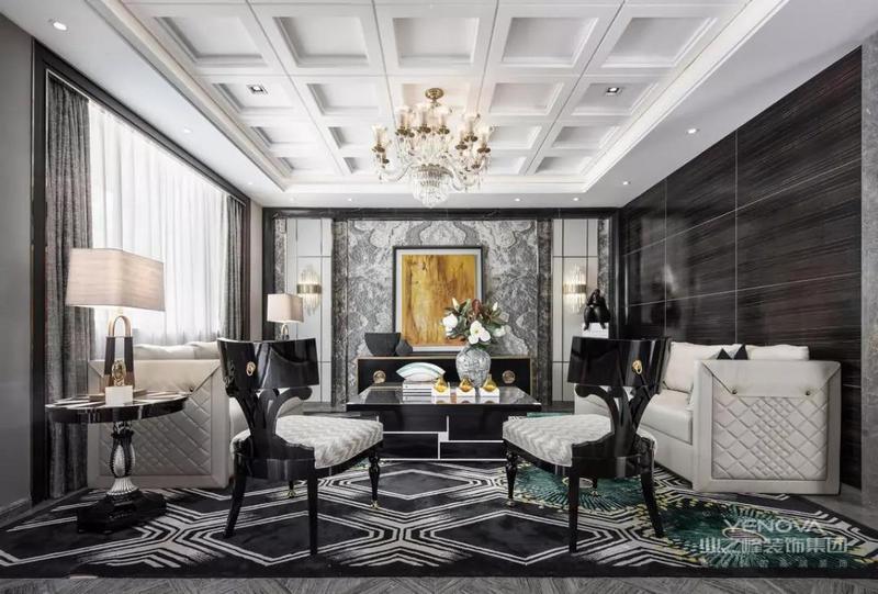 本案人物定位为喜欢古典格调也钟爱当代艺术、深具文化涵养的高端客层,设计风格将新古典的高贵与当代品味的质感生活相互交融,空间以考究的软装细节、精粹奢华的材质搭配和富有激情的艺术主题,诠释兼具古典和摩登的当代居住范例,传递典雅的艺术人文美感。
