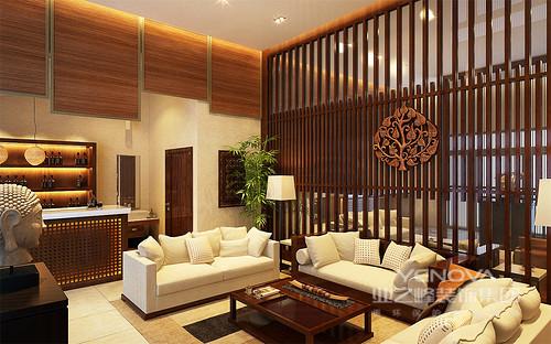 紧凑的空间里,酒吧区、盥洗区作为了客厅背景,形成空间的密切联系。褐色原木温和沉静,大面积条纹木形成叠层,树形雕花仿若印记,搭配米白布艺沙发,深浅色调中展现原生环保生活理念。