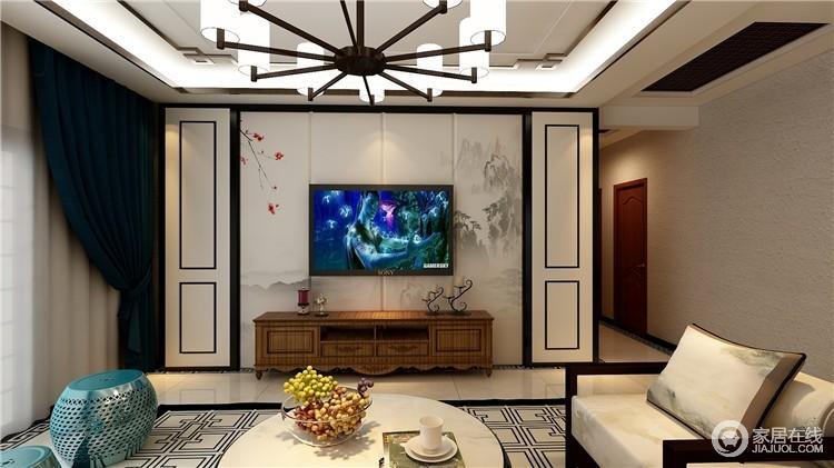 新中式风格讲究纲常,讲究对称,以阴阳平衡的概念调和室内生态,正如背景墙以黑白为主,利用几何来演绎对称之美,中式云墨写意图,搭配木质家具,营造禅宗式的理性和宁静环境。