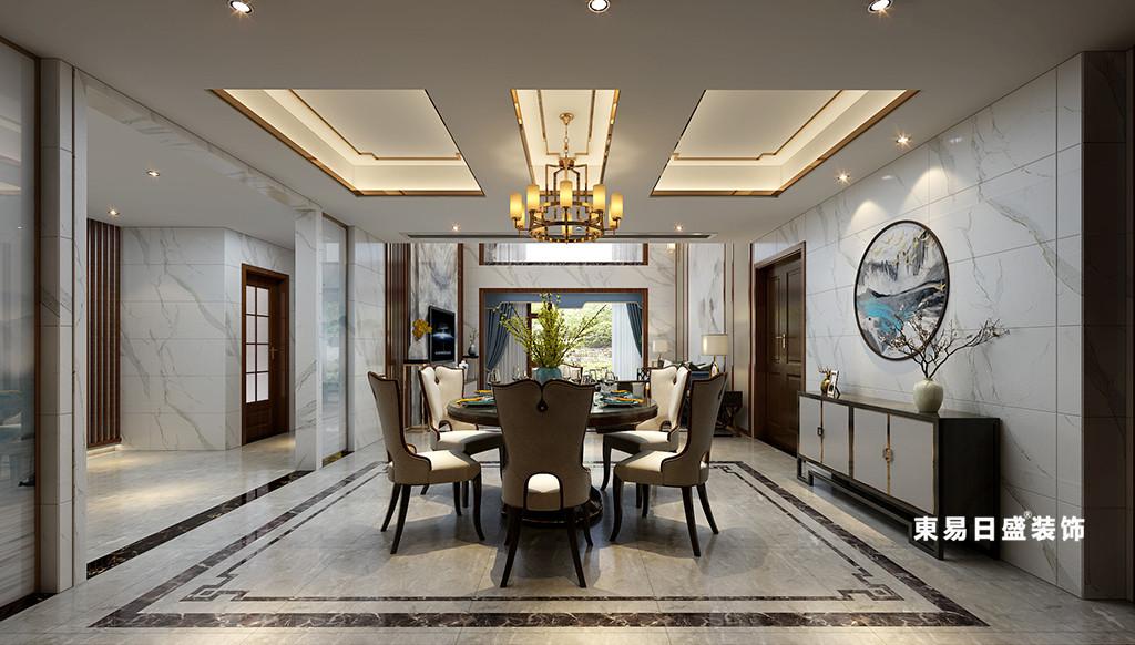桂林华御公馆复式楼380㎡新中式风格:餐厅装修设计效果图