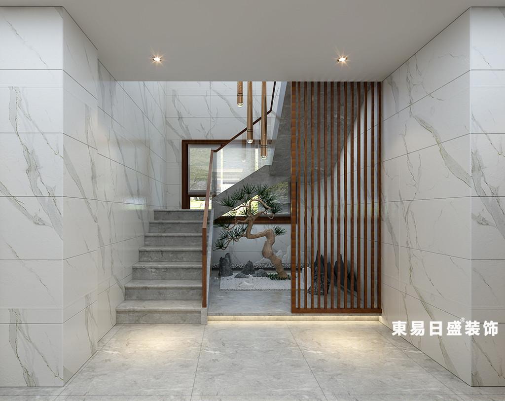 桂林华御公馆复式楼380㎡新中式风格:楼梯装修设计效果图