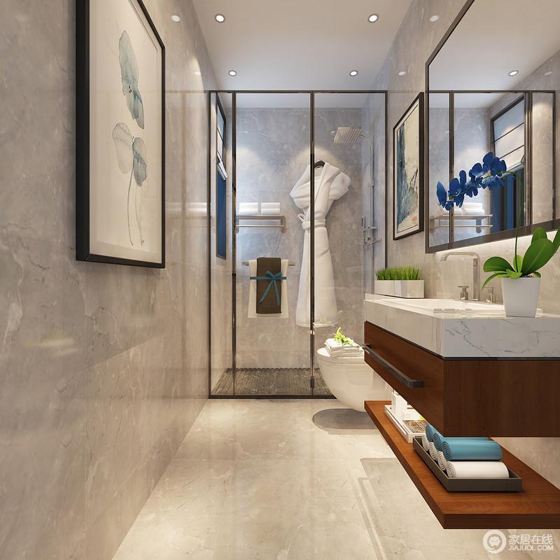 卫浴空间使用耐脏的浅水泥灰大理石,铺陈墙地面,展现出简约利落感;大浴室镜折射着空间,扩大空间视觉;盥洗台下方抽屉和搁架收纳,一抹沉稳木色,增添空间几分温和层次感。
