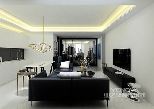 空间线条尤为凝练,平铺直叙地将空间的情感娓娓道来,黑白双色调合理打造出经典艺术;开放式的布局有序地将小空间的魅力发挥出来,并利用简约而别致的家具,烘托了一个现代庄重的空间。