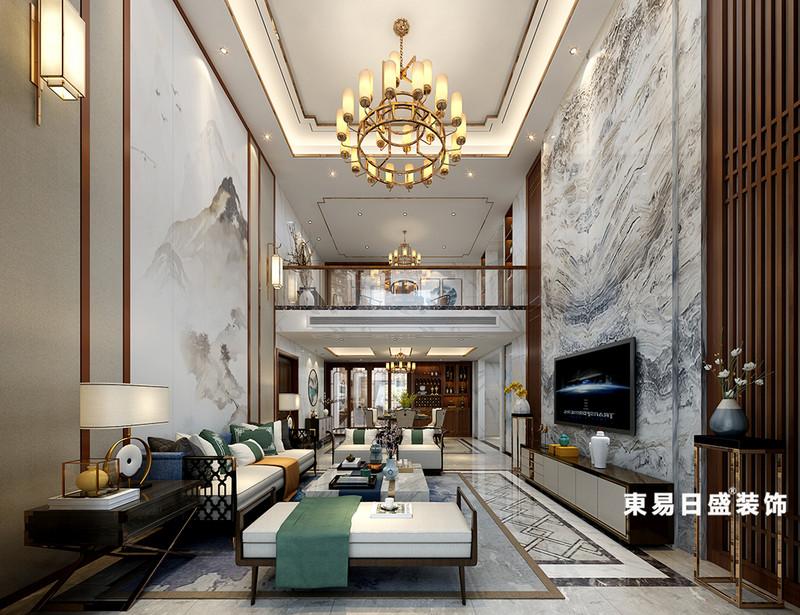 桂林華御公館復式樓380㎡新中式風格:客廳吊頂裝修設計效果圖